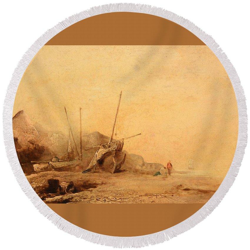 Manner Of Richard Parkes Bonnington (1802-1828) Coastal Landscape With Fisherfolk Round Beach Towel featuring the painting Coastal Landscape With Fisherfolk by Richard Parkes