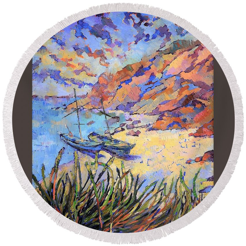 Seascape Round Beach Towel featuring the painting Coastal Light by Annika Zalmover