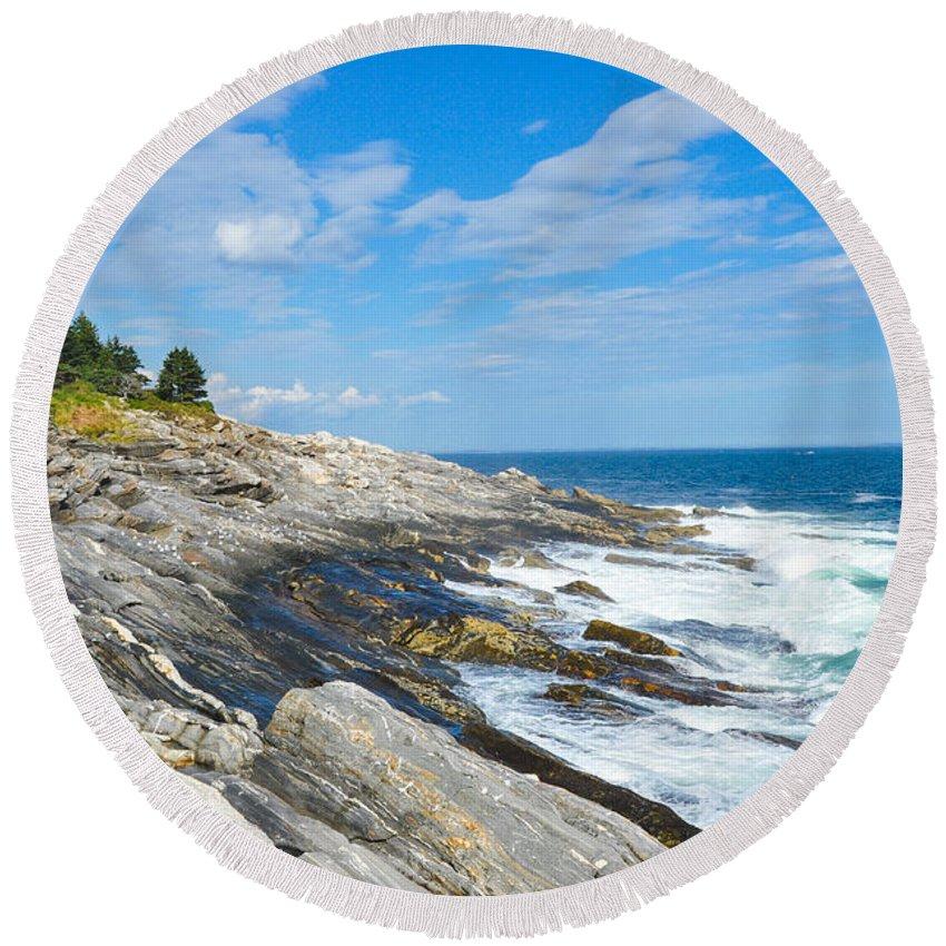 Maine Round Beach Towel featuring the photograph Coastal Maine by Anna Serebryanik