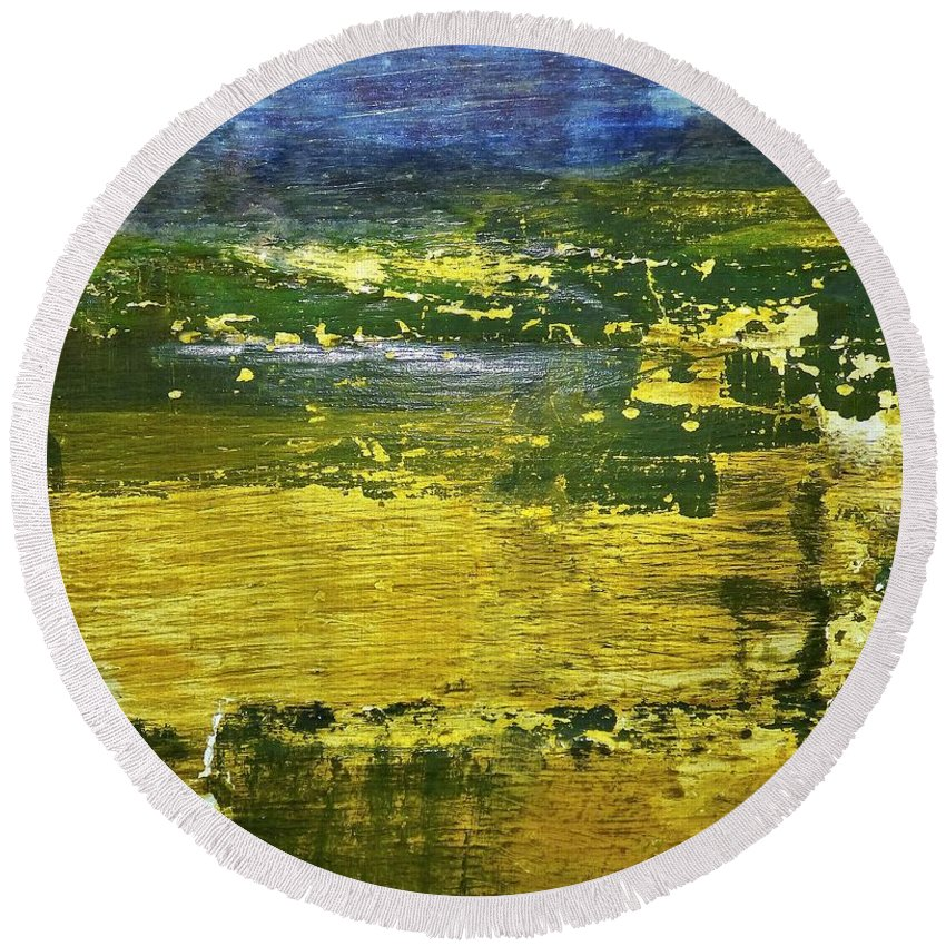 Abstract Round Beach Towel featuring the photograph Coastal Marsh View Abstract by Sharon Eng