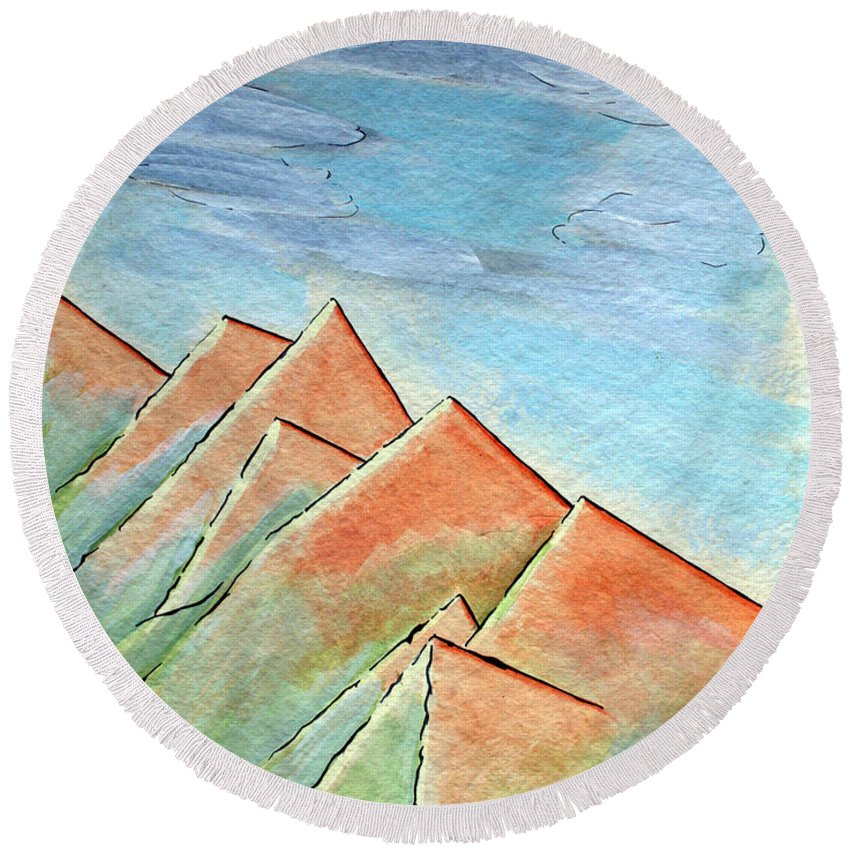 Painting Round Beach Towel featuring the painting Coastal Range by J R Seymour