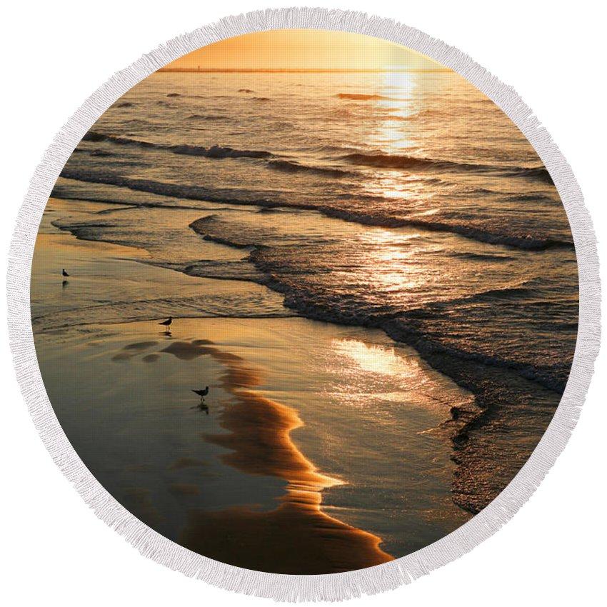 Beach Round Beach Towel featuring the photograph Coastal Sunrise by Marilyn Hunt