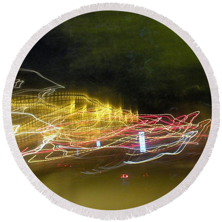 Photograph Round Beach Towel featuring the photograph Coaster Of Lights by Thomas Valentine