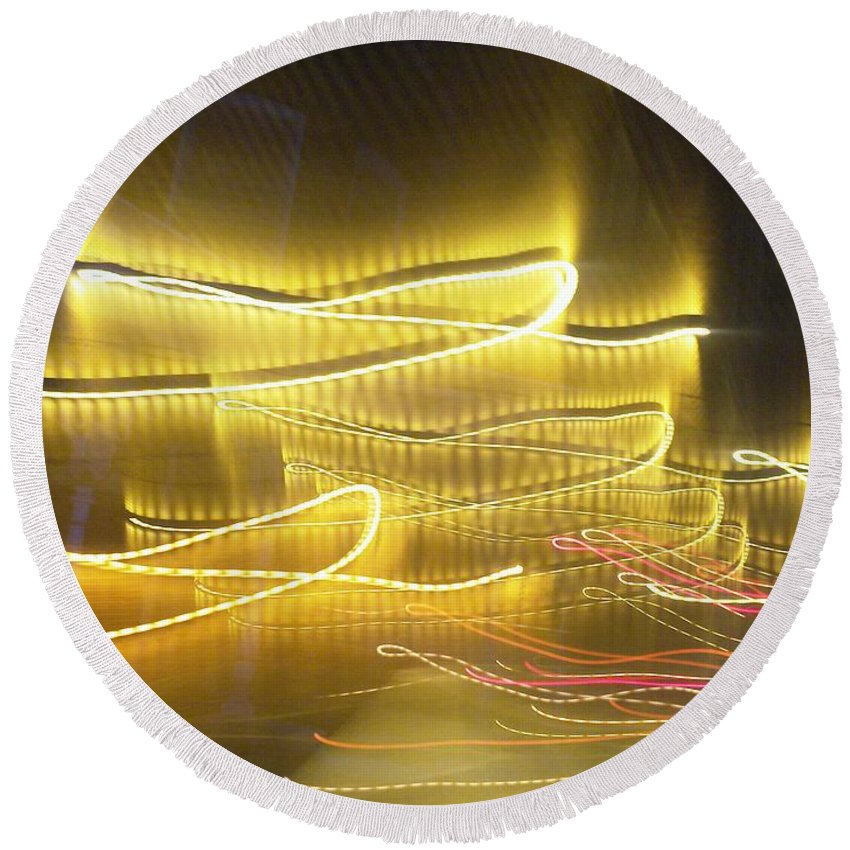 Photograph Round Beach Towel featuring the photograph Coaster Of Lights Two by Thomas Valentine