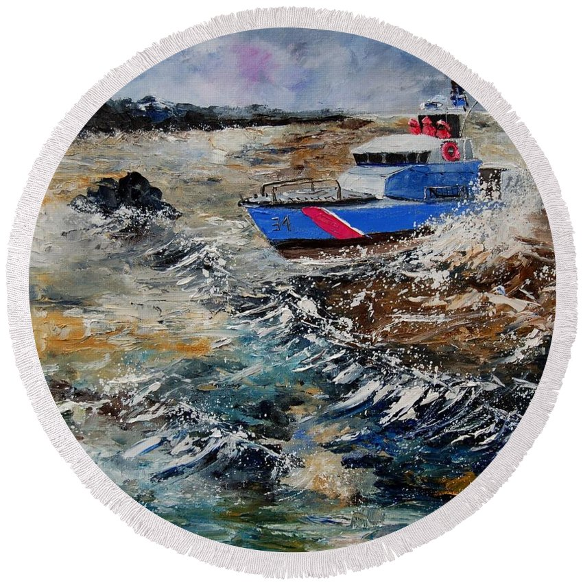 Sea Round Beach Towel featuring the painting Coastguards by Pol Ledent