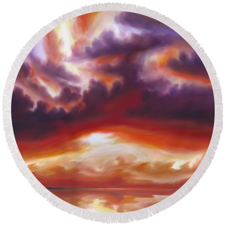 Skyscape Round Beach Towel featuring the painting Coastline by James Christopher Hill
