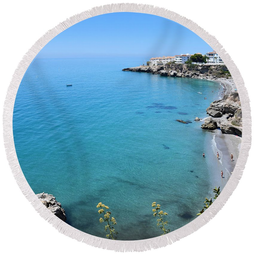 Coastline Round Beach Towel featuring the photograph Coastline Of Nerja-spain by Mary Machare
