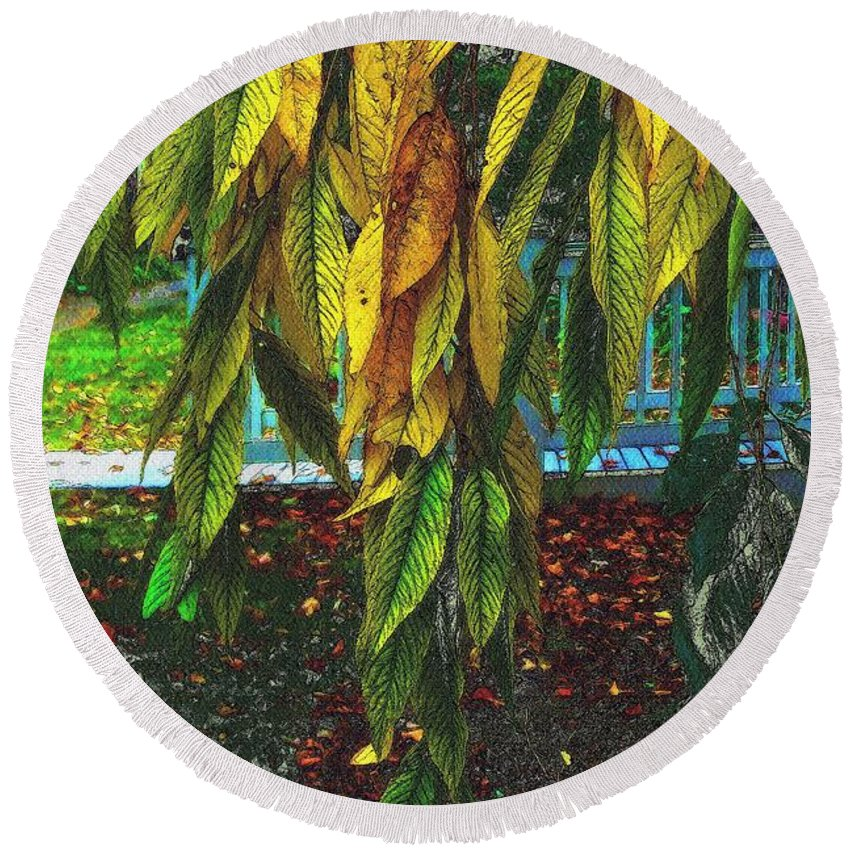 Autumn Round Beach Towel featuring the painting Coat Of Many Colors by RC DeWinter
