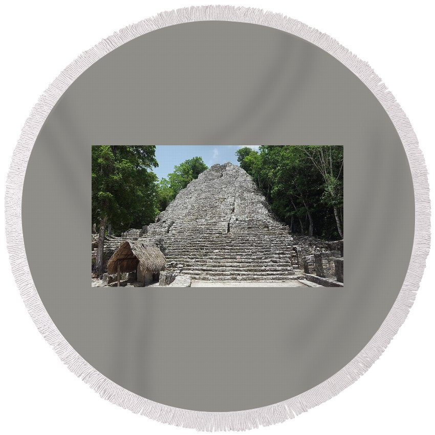 Coba Round Beach Towel featuring the photograph Coba by Anthony Schafer