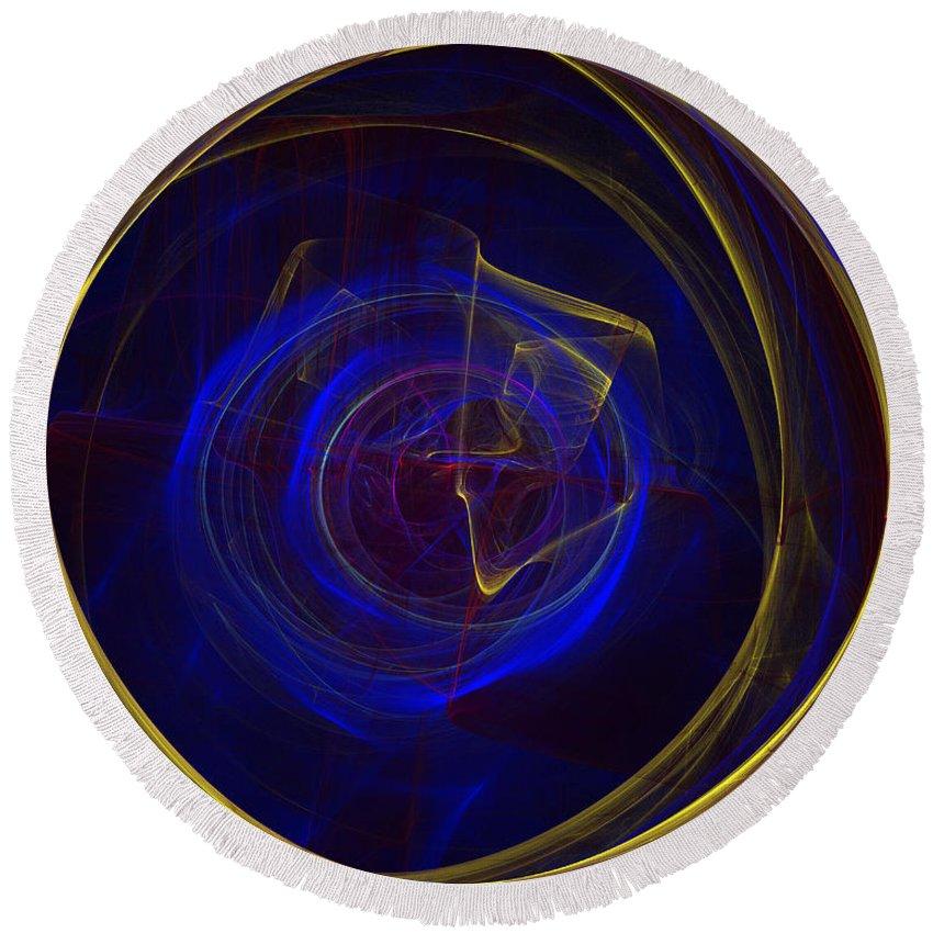 Apophysis Round Beach Towel featuring the digital art Cobalt Blue by Deborah Benoit