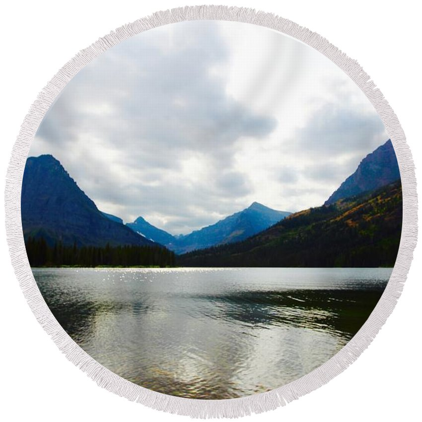 Round Beach Towel featuring the photograph Cobalt Lake by Matthew Justis