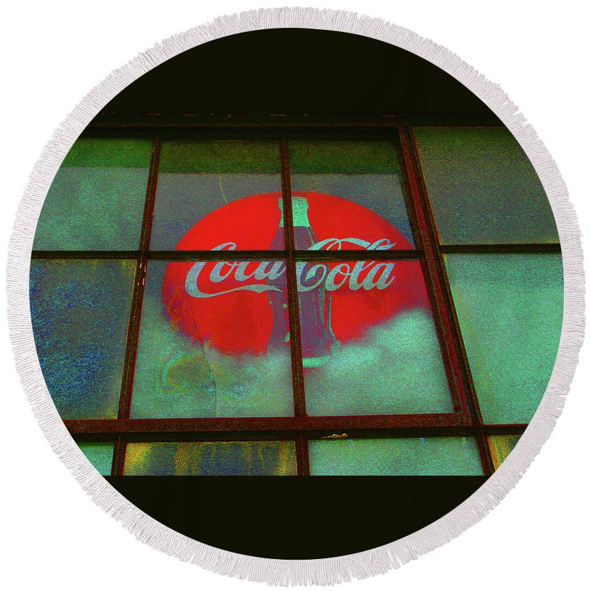 Coke Sign Round Beach Towel featuring the photograph Coca Cola by Artie Rawls