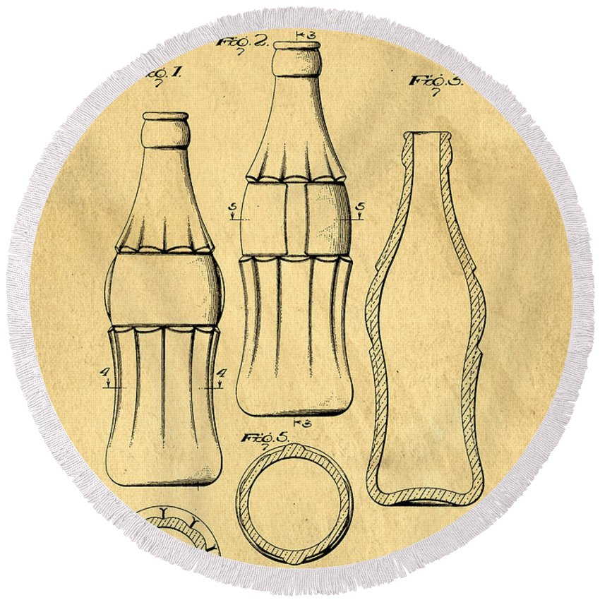 Original Round Beach Towel featuring the digital art Coca Cola Bottle Patent Art 1937 Blueprint Drawing by Edward Fielding