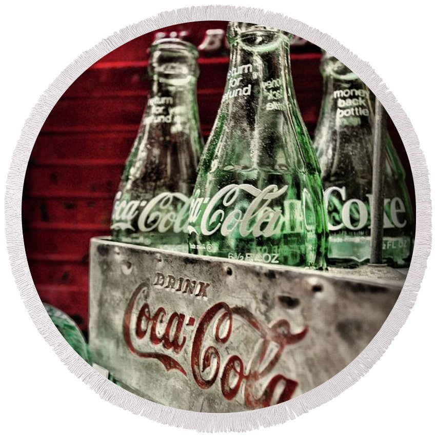Paul Ward Round Beach Towel featuring the photograph Coca Cola Vintage 1950s by Paul Ward