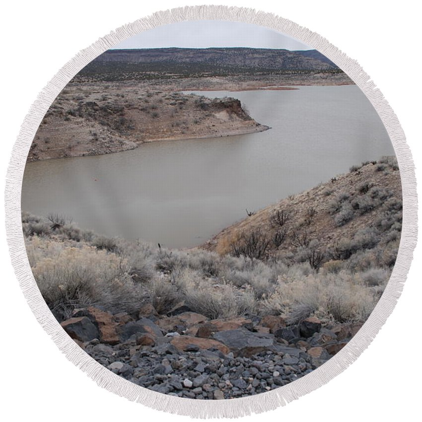 Mountians Round Beach Towel featuring the photograph Cochiti Lake by Rob Hans