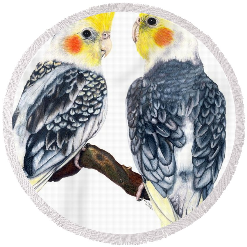 Cockatiel Round Beach Towel featuring the drawing Cockatiels by Kristen Wesch