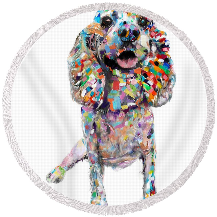 Dogs Round Beach Towel featuring the painting Cocker Spaniel by Portraits By NC