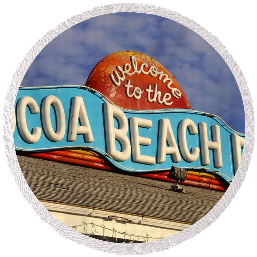 Fine Art Photography Round Beach Towel featuring the photograph Cocoa Beach Pier Sign by David Lee Thompson