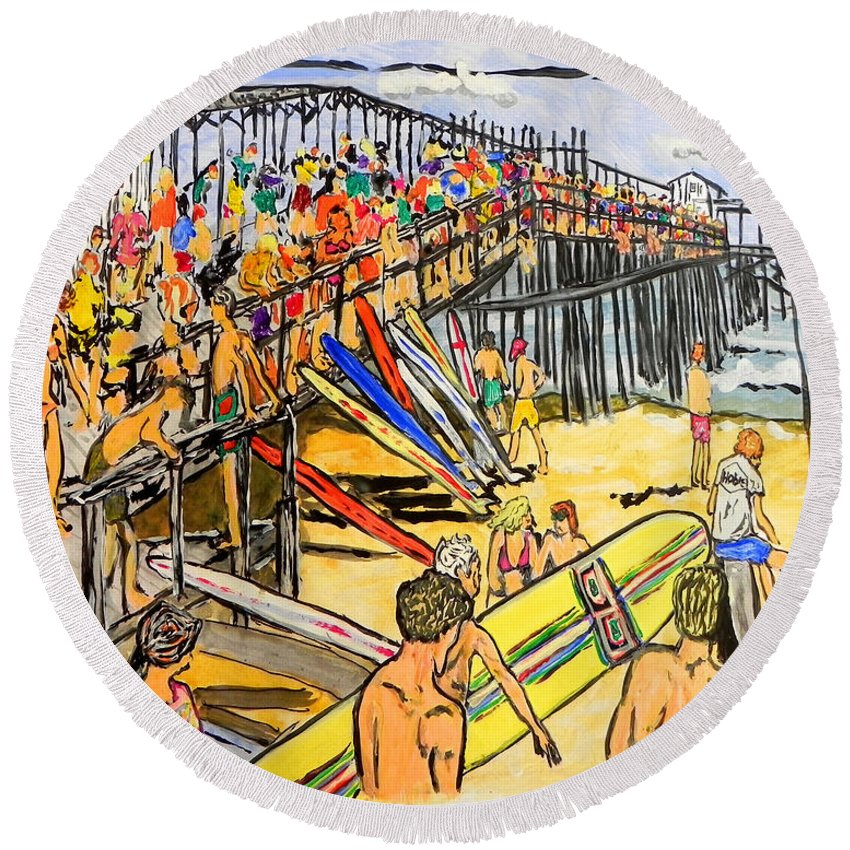 Wgilroy Round Beach Towel featuring the painting Cocoa Beach Pier/surf Festavil by W Gilroy