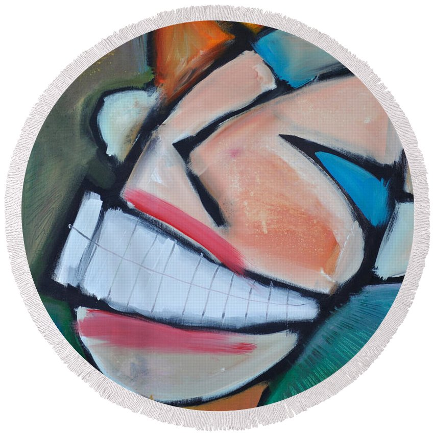 Smile Round Beach Towel featuring the painting Coconut Bread by Tim Nyberg