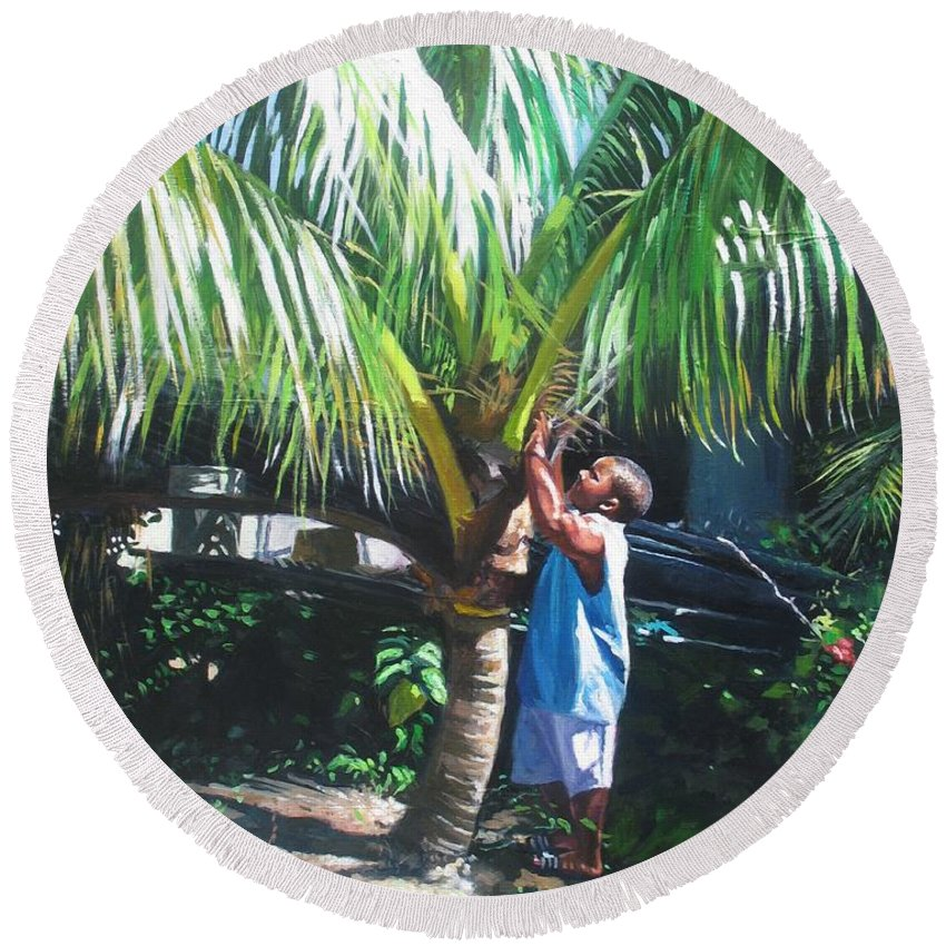 Tree Round Beach Towel featuring the painting Coconut Shade by Colin Bootman