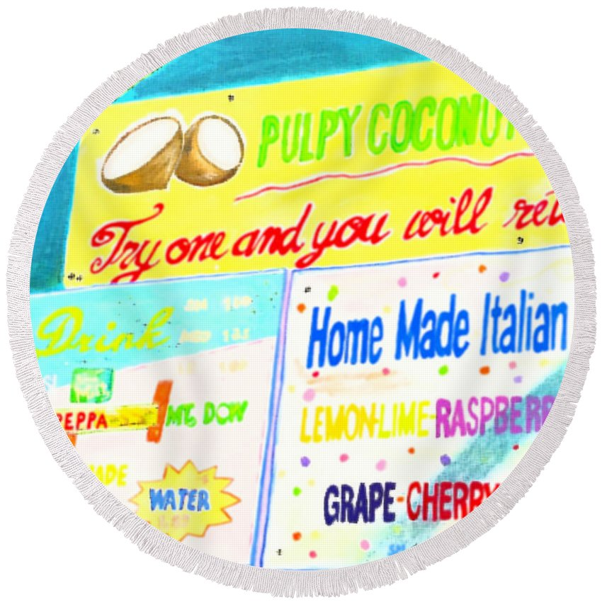Gouache Round Beach Towel featuring the painting Coconut Shakes by Beth Saffer
