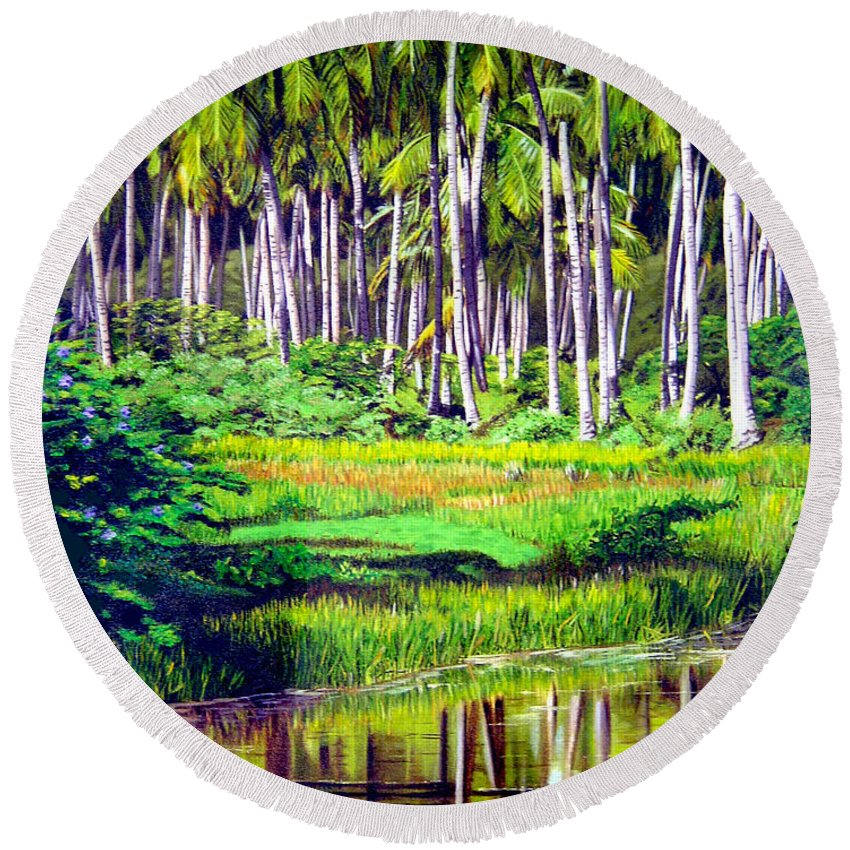 Coconuts Water River Green Art Tropical Round Beach Towel featuring the painting Coconuts Trees by Jose Manuel Abraham