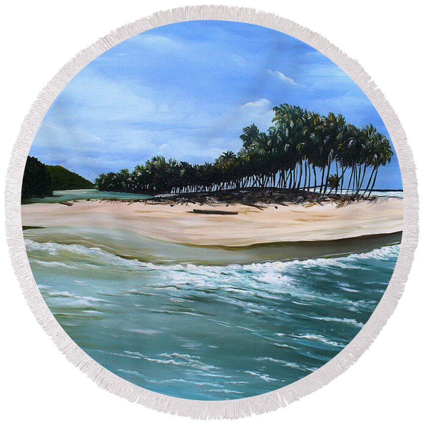 Ocean Paintings Sea Scape Paintings  Beach Paintings Palm Trees Paintings Water Paintings River Paintings  Caribbean Paintings  Tropical Paintings Trinidad And Tobago Paintings Beach Paintings Round Beach Towel featuring the painting Cocos Bay Trinidad by Karin Dawn Kelshall- Best