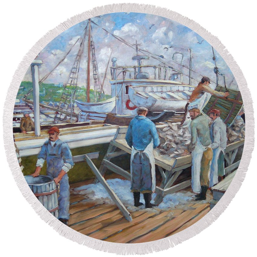 Cod Round Beach Towel featuring the painting Cod Memories by Richard T Pranke