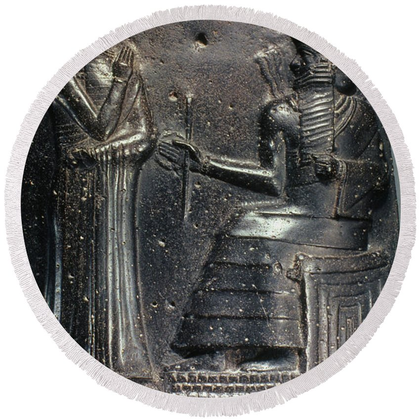 18th Century B.c. Round Beach Towel featuring the photograph Code Of Hammurabi. by Granger