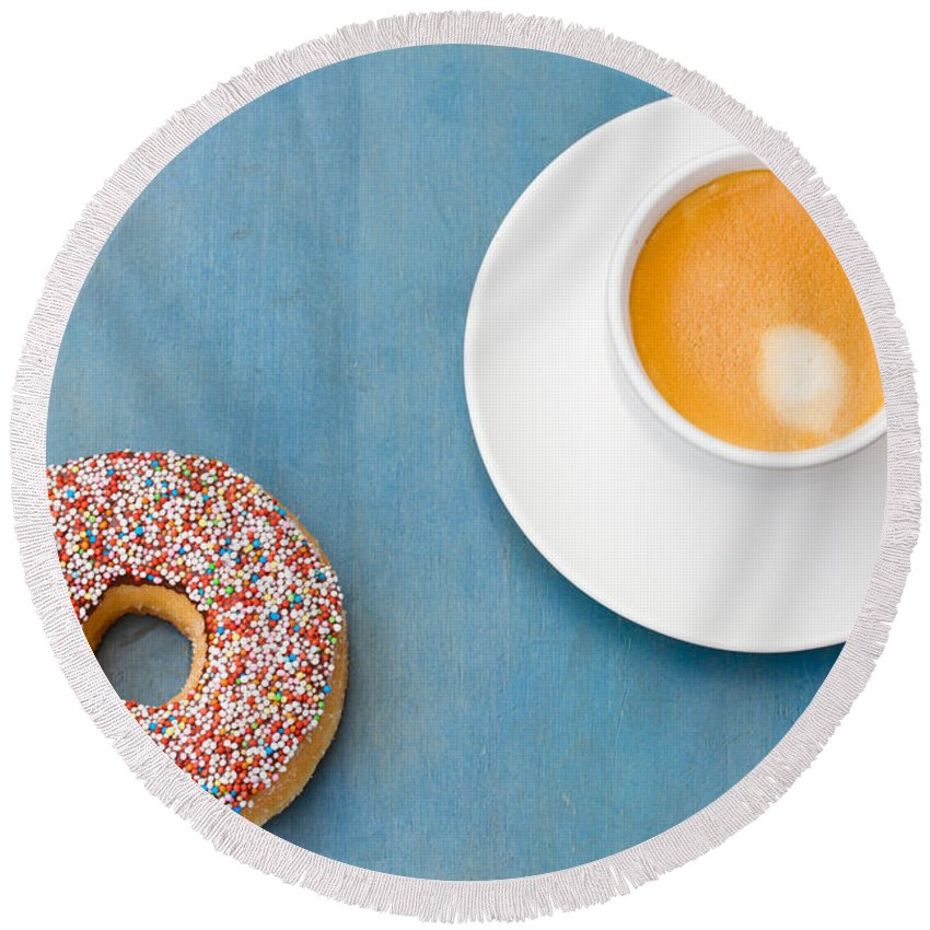 Coffee Round Beach Towel featuring the photograph Coffee And Donut by Anastasy Yarmolovich
