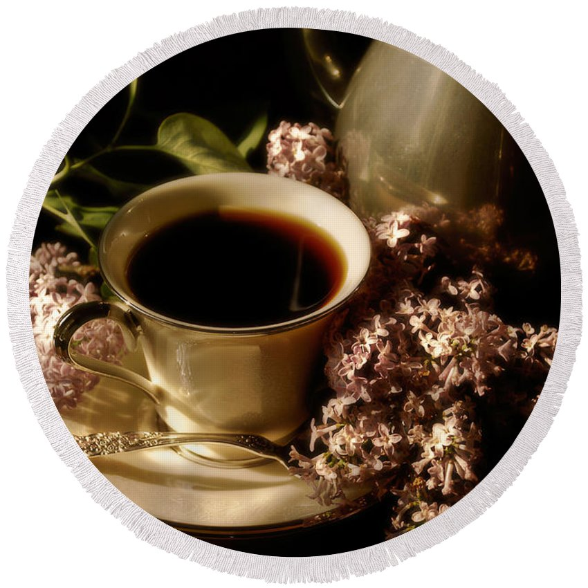 Coffee Round Beach Towel featuring the photograph Coffee And Lilacs In The Morning by Lois Bryan