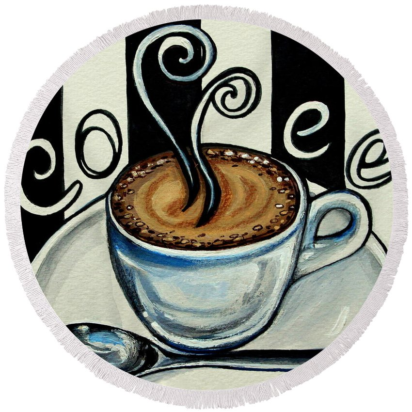 Coffee Round Beach Towel featuring the painting Coffee At The Cafe by Elizabeth Robinette Tyndall