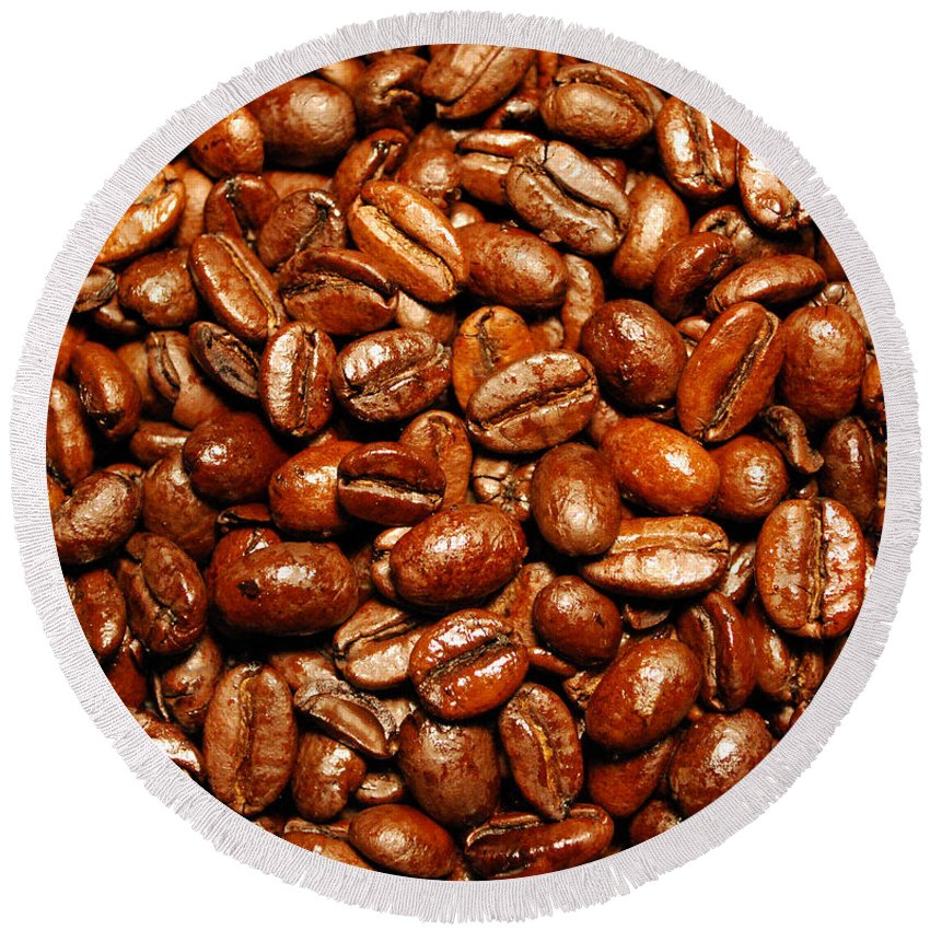Coffee Round Beach Towel featuring the photograph Coffee Beans by Nancy Mueller