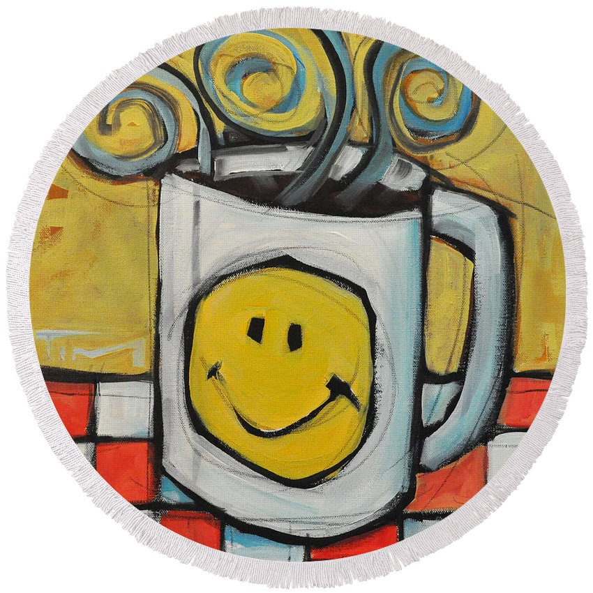 Coffee Round Beach Towel featuring the painting Coffee Cup One by Tim Nyberg