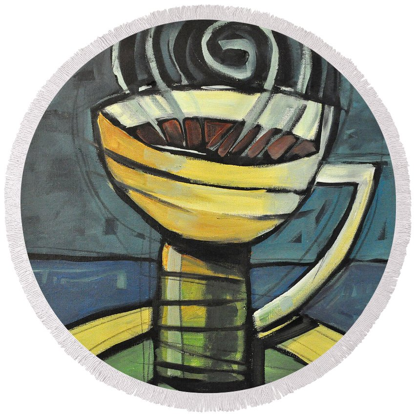 Coffee Round Beach Towel featuring the painting Coffee Cup Three by Tim Nyberg