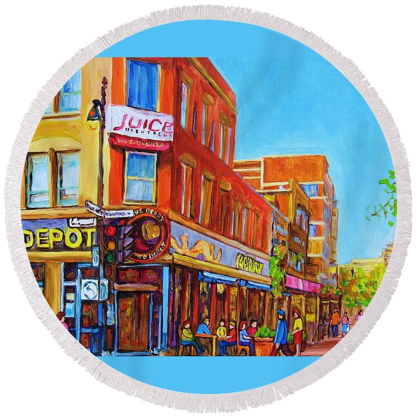 Cityscape Round Beach Towel featuring the painting Coffee Depot Cafe And Terrace by Carole Spandau
