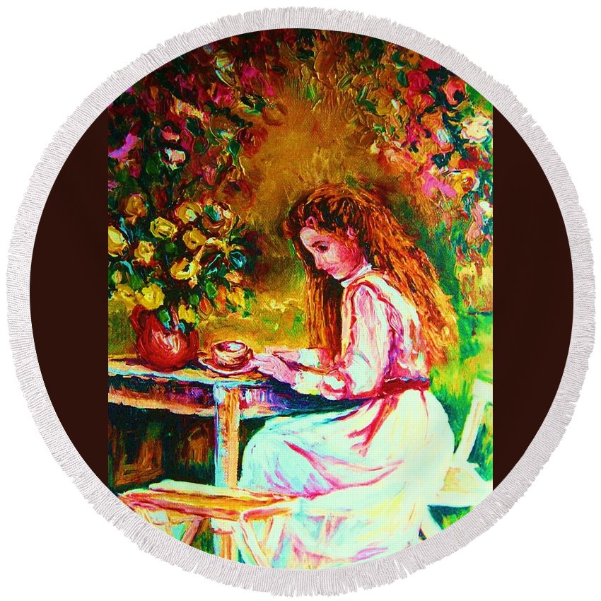 Impressionism Round Beach Towel featuring the painting Coffee In The Garden by Carole Spandau