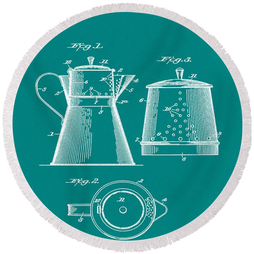 Coffee Round Beach Towel featuring the photograph Coffee Pot Patent 1916 Green by Bill Cannon