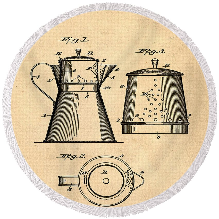 Coffee Round Beach Towel featuring the photograph Coffee Pot Patent 1916 Sepia by Bill Cannon