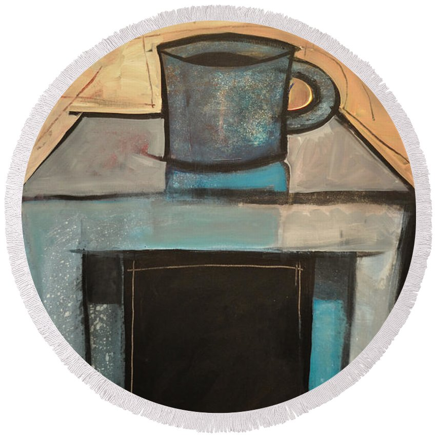 Coffee Round Beach Towel featuring the painting Coffee Table by Tim Nyberg
