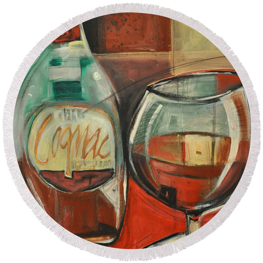 Alcohol Round Beach Towel featuring the painting Cognac by Tim Nyberg