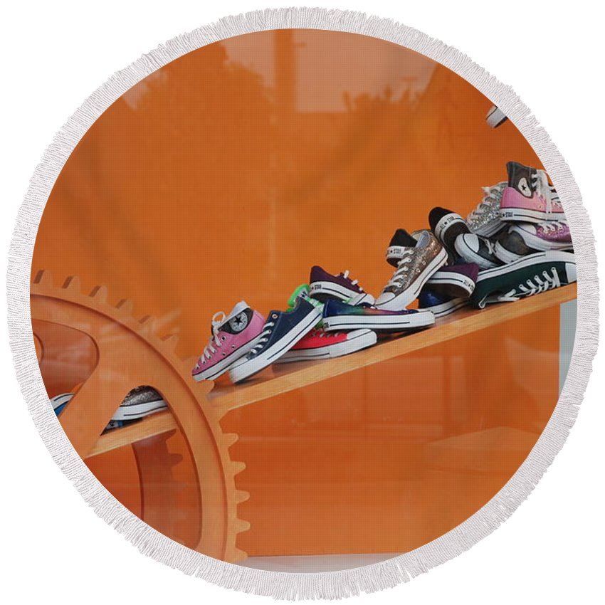 Orange Round Beach Towel featuring the photograph Cogs N Converse by Rob Hans