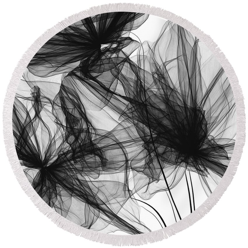 Black And White Modern Art Round Beach Towel featuring the painting Coherence - Black And White Modern Art by Lourry Legarde