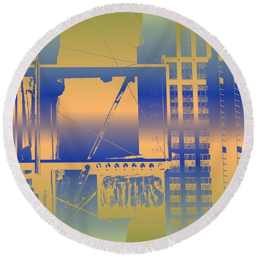 Seattle Round Beach Towel featuring the digital art Coins by Tim Allen