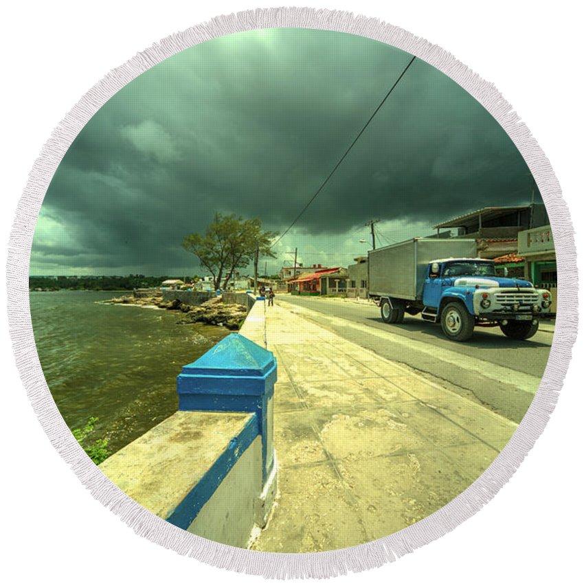 Cuba Round Beach Towel featuring the photograph Cojimar Truck by Rob Hawkins