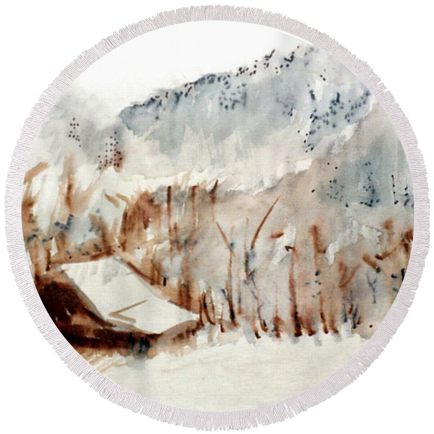 Cold Cove Round Beach Towel featuring the mixed media Cold Cove by Seth Weaver