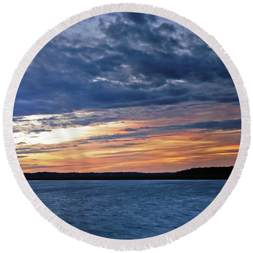 Sunset Round Beach Towel featuring the photograph Cold Front by Phill Doherty