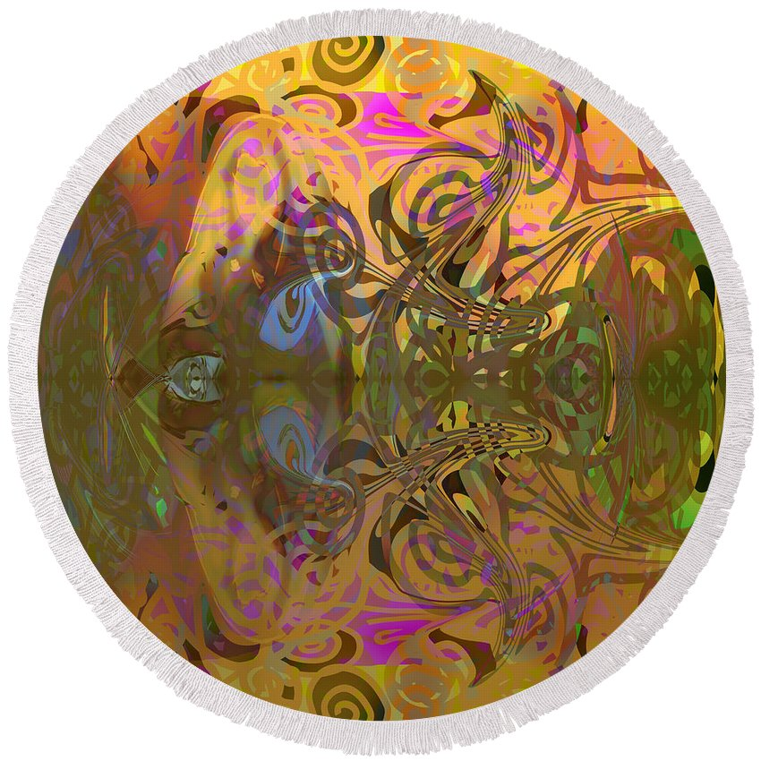 Abstract Round Beach Towel featuring the digital art Cold Light Of Day by Grant Wilson