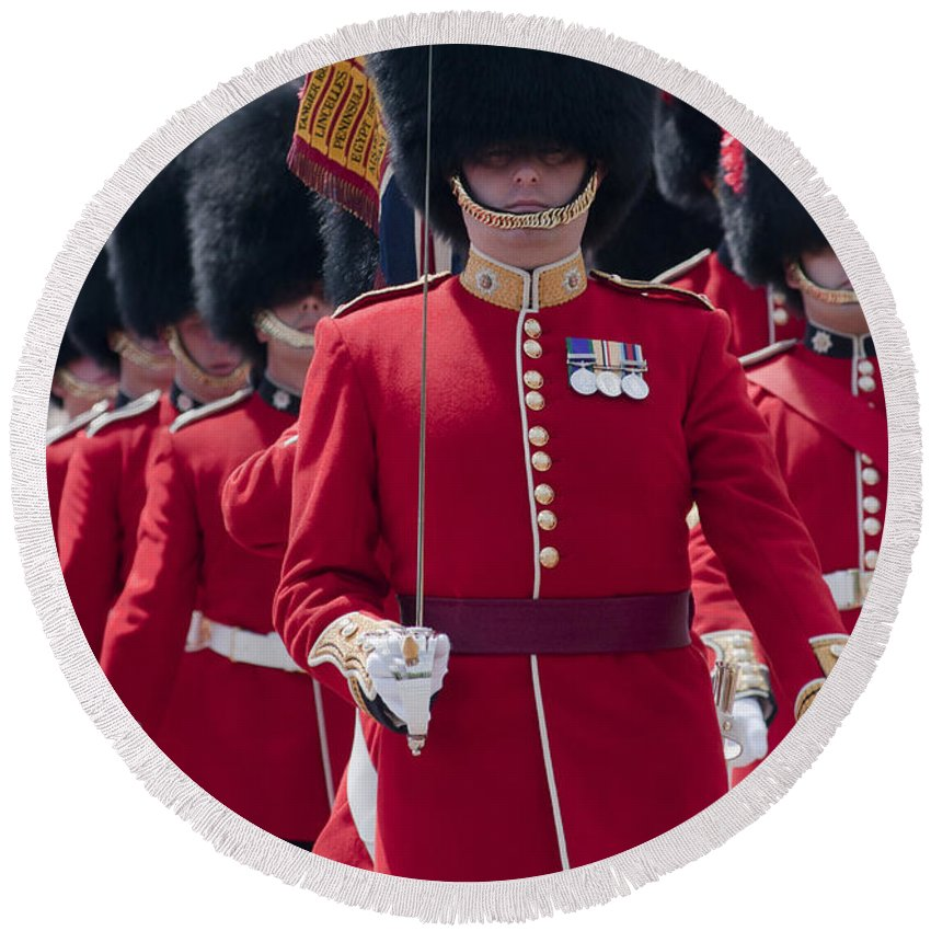 British Round Beach Towel featuring the photograph Coldstream Guards by Andrew Michael
